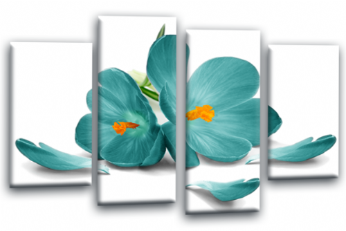 Floral Flower Teal Orchid Canvas Wall Art Picture Print